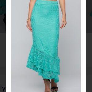 Bebe ruffle lace turquoise midi skirt NWT small